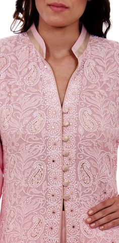 Rose Quartz Hand Embroidered Chikankari With Kamdaani Jacket Suit Neck Designs For Suits, Neckline Designs, Dress Neck Designs, Blouse Designs, Designer Dress For Men, Indian Designer Wear, Designer Dresses, Lucknowi Suits, Chikankari Suits