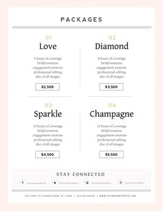 wedding photographer pricing guide template # Wedding Photography packages Wedding Photography Price List Template — By Stephanie Design Photography Price List, Wedding Photography Pricing, Wedding Photography Packages, Photography Business, Photography Logos, Freelance Photography, Photography Camera, Photography Projects, Photography Equipment