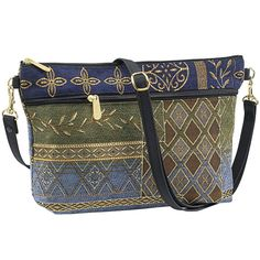 Diamond and Vines Tapestry Shoulder Bag - Women's Clothing – Casual, Comfortable & Colorful Styles – Plus Sizes