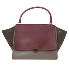 2001bbbdbcff Celine Tri Color Smooth Leather & Suede Large Trapeze Bag