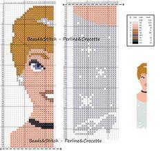 Cross stitch chart Disney Princess Cinderella bookmark                                                                                                                                                      More