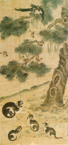 """Korean genre painting: """"Remonstrution Wall - Implications - Cat & Magpie""""  변상벽-묘작(고양이와까치) (763×1613)"""