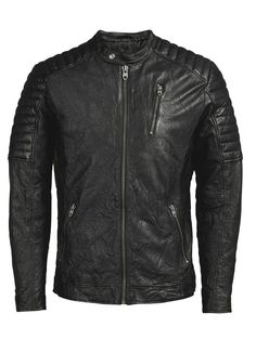 100% black lamb leather biker jacket, with an authentic well-worn look. Pair it with a checked shirt and blue distressed jeans   JACK & JONES #vintage #style