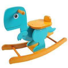 Labebe Wooden Dinosaur Rocking Horse for Baby