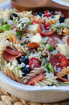 Pizza Pasta Salad ~ https://www.fromvalerieskitchen.com