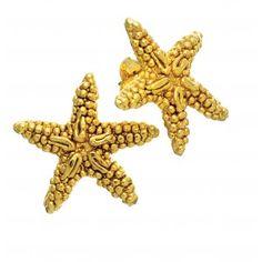 Orecchini mini a forma di stella marina in argento in bagno d'oro by Giovanni Raspini
