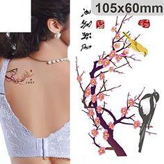 Big Flower Arm Tattoo Temporary Tattoo Sticker Sparrow/magpie Fake Tatoo Sleeve Flash Tatto Waterproof Body Art Women Sexy Girls Reliable Performance Temporary Tattoos