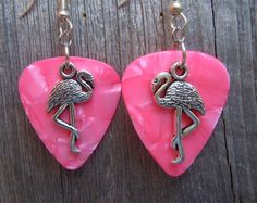 Flamingo Charm Guitar Pick Earrings - Pick Your Color by ItsYourPick on Etsy