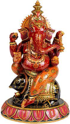 Polychrome Red Ganesha Seated on Mushika, in Kadamba Wood, From Jaipur