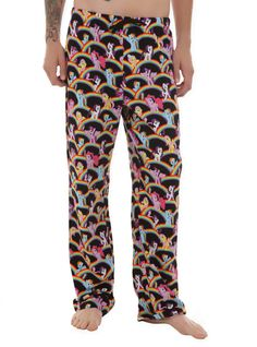 Comfy men's pajama pants with allover My Little Pony characters and rainbows design.Elastic drawstring waist with single button fly.
