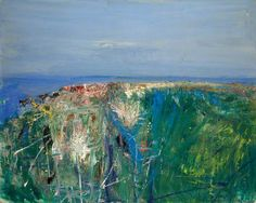 Joan Eardley ( 1921 - Summer Grasses and Barley on the Clifftop The Wave Seascape . Landscape Artwork, Abstract Landscape Painting, Seascape Paintings, Contemporary Landscape, Your Paintings, Contemporary Paintings, Art Uk, City Art, Matisse