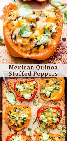 These vegetarian Mexican Quinoa Stuffed Peppers are filled with quinoa, black beans, corn and a blend of Mexican spices. Topped with melted cheese and creamy avocado sauce, they're an easy meal the whole family will love! Bbc Good Food Recipes, Healthy Dinner Recipes, Mexican Food Recipes, Vegetarian Recipes, Cooking Recipes, Crock Pot, Vegetarian Stuffed Peppers, Mexican Stuffed Peppers, Vegetarian Mexican