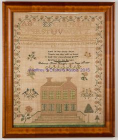 """VIRGINIA) QUAKER PICTORIAL NEEDLEWORK SAMPLER, silk on linen, large format, the four alphabet and numeral rows over a short verse and inscription """"Deborah Bond Hough's work June 18th 1837"""" above a large brick home with shuttered first-floor windows, raised on steps with railings and set on a stitched lawn with trees and large rose, the lower two-thirds of the composition featuring floral sprays, cornucopia, and opposing pairs of perched lovebirds, all within a strawberry-and-vine border…"""