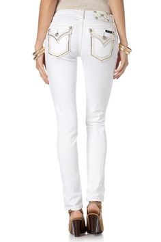 "Check out "" Golden Shimmers Border Skinny Jeans  "" from Miss Me"