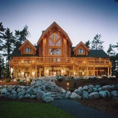 love this log cabin style.. just needs to be in the woods and would be perfect!
