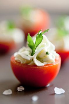 Goat cheese-stuffed cherry tomatoes. | 14 Appetizers That You Can Make In 14 Minutes