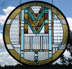 """stained glass window panel""""ARTS & CRAFTS""""frank lloyd wright style, prairie style, mission style,craftsman style,stained glass sun catcher"""