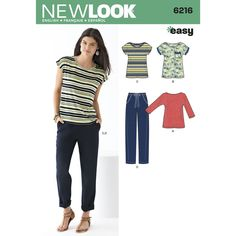 Neq Look 6216 | Misses' easy knit top with scoop neck and short all-in-one sleeves or higher   neckline with 3/4 dolman sleeves and pull-on pants with drawstring waist. great for casual / weekend.