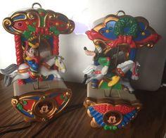 VINTAGE MR CHRISTMAS Mickeys Holiday Carousel Animated Lighted Ornaments Goofy
