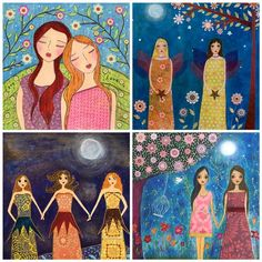Sisters Friends Friendship Painting Art Print Set Four by Sascalia, $14.99