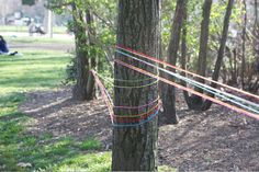 Commenter: As a kid I went to a friend's birthday party where her mom did something similar–except, each skein of yarn was wrapped around the room individually, leading to personalized gift bags. It was a giant maze that forced everyone to crawl all around, under and over each other to follow our trail. She tied the end opposite of the gift bag to a TP roll, so that we could wind up the yarn as we went. It was a blast!