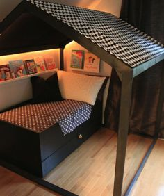 KIDS ROOM – mommo design: little houses. Replace the bed with a couch and it could be a fun reading corner too. Big Girl Rooms, Baby Rooms, Kid Beds, Toddler Beds For Boys, Diy Toddler Bed, Kid Spaces, Play Spaces, Small Spaces, Little Houses