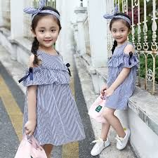 Cheap summer children, Buy Quality dress kids directly from China kids casual Suppliers: Girls Blue Striped Dress 2017 Summer Children Off the Shoulder Ruffles Casual Dress Kids Casual Beach Dress Clothes Outfits Teenager Mädchen, Teen Girl Outfits, Little Girl Dresses, Kids Outfits, Girls Dresses, Frocks For Girls, Kids Frocks, Girls Summer Outfits, Summer Dresses