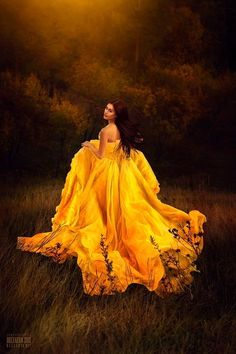 Random beauty in yellow dress grass field Untitled photo by Светлана Беляева