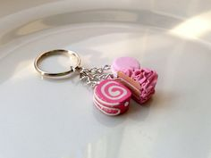 Pink Cake and Candy Keyring Keychain by DelectableJewellery