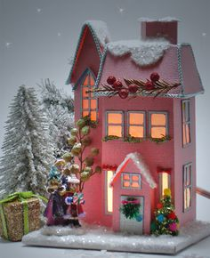 Charming Miniature Christmas Village House