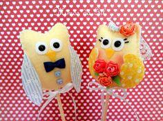Topo de bolo de casamento casal de corujinhas
