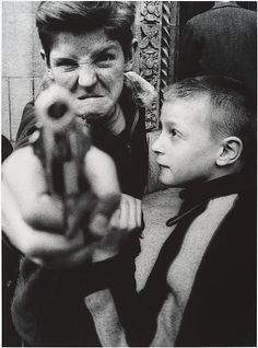 "William Klein (American, 1928-). Gun 1, New York, 1954, printed 1986. The Metropolitan Museum of Art, New York. Gift of the artist, in honor of his mother, Mrs. Helen Klein, 1987. | This work is featured in the ""Crime Stories: Photography and Foul Play"" exhibition, on view through July 31, 2016."