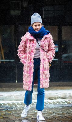 Sneakers and jeans are also conveniently the perfect base layer for bundling up! @Coveteur