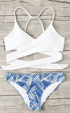 Crisscross Tropical Print Bikini Set: This bikini is absolutely adorable! White bikini with blue tropical print. Bathing Suits For Teens, Summer Bathing Suits, Cute Bathing Suits, Summer Suits, Women Bathing Suits, One Piece Swimsuit For Teens, Bathing Suit Covers, Bathing Suit Top, Cute Bikinis