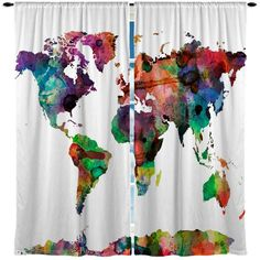 Custom Window Curtains - Made to Order - Any size Shown World Map Water Colors on Beige or White Licensed from artPause 2014