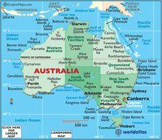 Australia Map / Map of Australia - Facts, Geography, History of Australia Australia Map, Western Australia, Iphone Australia, Australia Wallpaper, Australia Tattoo, Vogue Australia, Surf, Facts About Australia, Brisbane Queensland