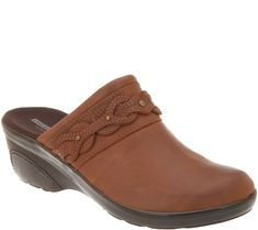 22fbd1d01c18 Clarks Leather Slip-on Sandals with Buckle Detail - Leisa Gianna ...