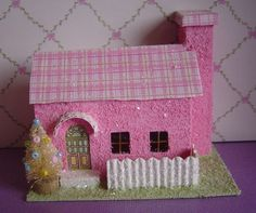 Easter pink putz style paper village house