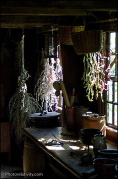 herbs drying in old fashioned kitchen