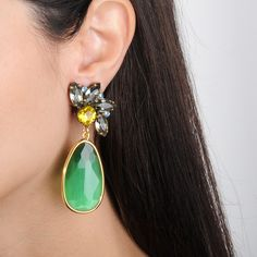 Alina Crystal Dangle Earrings with Green Drops Crystal Earrings, Dangle Earrings, Dangles, Feminine, Pairs, Crystals, Green, Jewelry, Fashion
