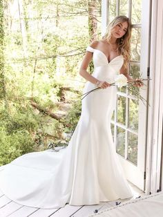 Rebecca Ingram - CINDY, We're getting mega Rita Hayworth vibes from this Mikado mermaid wedding dress featuring off-the-shoulder sleeves and a red-carpet-ready neckline. Unique Wedding Gowns, Wedding Dress Trends, Sexy Wedding Dresses, Wedding Dresses Plus Size, Boho Wedding Dress, Bridal Gowns, Wedding Bride, Practical Wedding, Blush Bridal