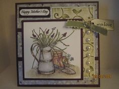 Splitcoaststampers Happy Mother's Day Long Time Friends, Stamp Pad, Happy Mothers Day, Vases, Stampin Up, Card Stock, Pots, Card Making, Paper Crafts