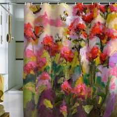 "Ginette Fine Art ""Bee Balm and Bees"" Shower Curtain"