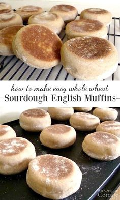 Sourdough English Muffins // for weeks of new sourdough starter. These whole wheat sourdough english muffins are surprisingly easy to make - and the taste is so far above store bought that it's worth the effort. Sourdough Bagels, Sourdough English Muffins, Whole Wheat Sourdough, Sourdough Recipes, Sourdough Starter Pizza Dough Recipe, Whole Wheat Bagel, Bread Starter, Amish Recipes, Bread Recipes