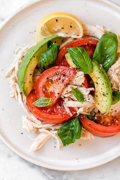 Avocado Chicken Salad, Chicken Salad Recipes, Basil Chicken, Rotisserie Chicken Salad, Recipe Chicken, Roasted Chicken, Healthy Chicken, Diet Recipes, Cooking Recipes
