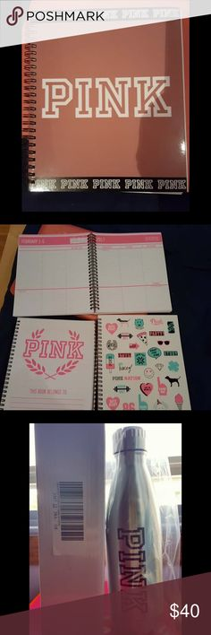 (New) bundle reserved for @11534255mes , thanks! (New) bundle reserved for @11534255mes , thanks! Listing include new unwritten 1 pink soft begonia 2017 planner and 1 pink silver metal water bottle. Thanks PINK Victoria's Secret Accessories