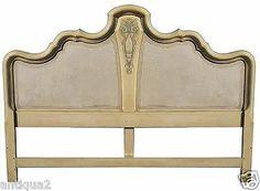 italian hollywood regency french louis xvi carved u0026 painted king headboard bed