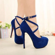 Blue High Heels 2019 Platform Heels Suede Round Toe Criss Cross Pumps - The Wandering Bugs High Heels Boots, Lace Up Heels, Ankle Strap Heels, Strappy Heels, Pump Shoes, Black Heels, Women's Shoes, Stiletto Heels, Ankle Straps