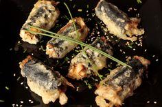 Nahual: Rollitos de algas en tempura con tentsuyu
