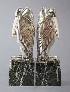These Malibu Stork bookends were formed in Art Deco style by Marcel Bouraine.